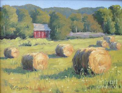 Painting - Hay Bales At The Farm by Viktoria K Majestic