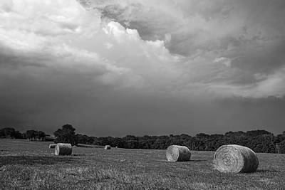 Photograph - Hay Bales Black And White - Photography by Ann Powell