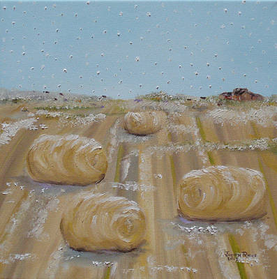 Painting - Hay Bales In Winter by Judith Rhue