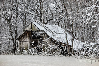 Art Print featuring the photograph Hay Barn In Snow by Debbie Green