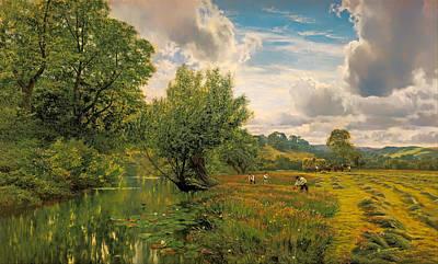 Beautiful Creek Painting - Hay Field by Mountain Dreams