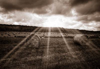 Photograph - Hay Field Sunrise by Chris Bordeleau