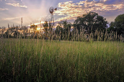 Farm Scenes Photograph - Hay Field Sunset by Bill Wakeley