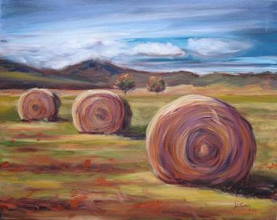 Bales Painting - Hay Harvest by Donna Tuten