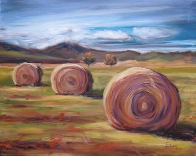 Field Painting - Hay Harvest by Donna Tuten