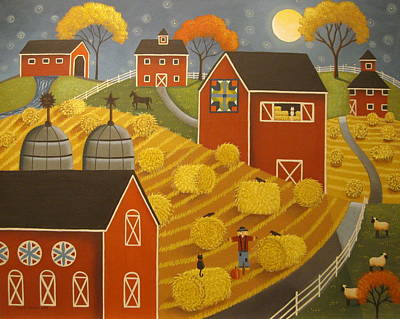 Covered Bridge Painting - Hay Harvest by Mary Charles