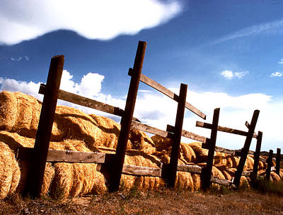 Photograph - Hay Loaves Stacked By Fence by Robert  Rodvik