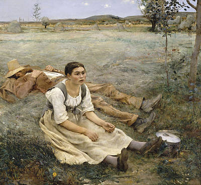 Print Making Painting - Hay Making by Jules Bastien-Lepage