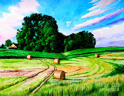 Painting - Hay Rolls On Farmland by Christopher Shellhammer