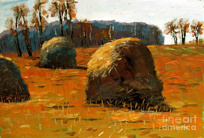 Hay Stacks 3pm Original by Charlie Spear