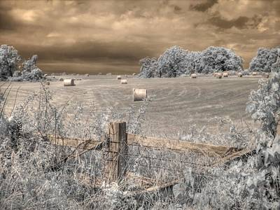 Infared Photograph - Hay Stacks by Jane Linders