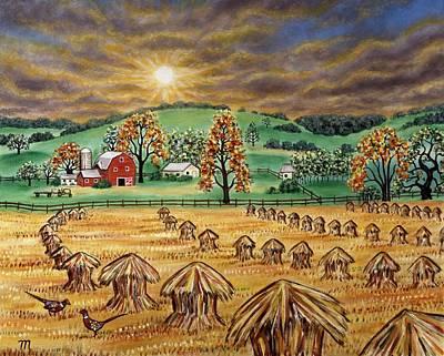 Hay Stacks Print by Linda Mears