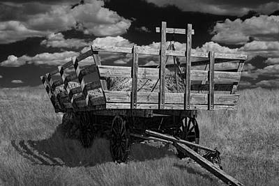 Hay Wagon On The Prairie In Black And White Art Print by Randall Nyhof