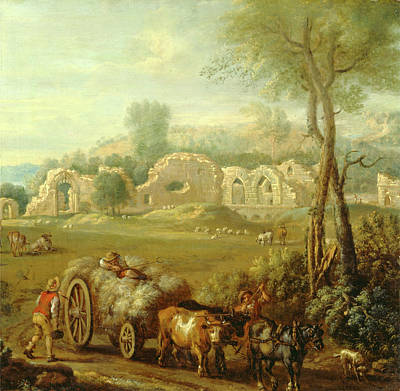 Cattle Dog Painting - Haycart Passing A Ruined Abbey, John Wootton by Litz Collection