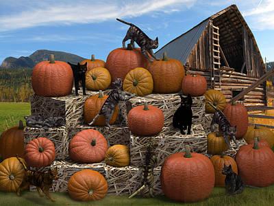 Haycats N' Pumpkins Art Print