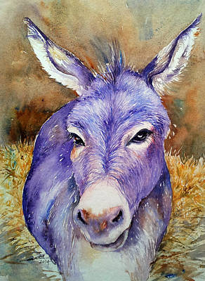 Donkey Watercolor Painting - Hayday- Donkey Portrait by Arti Chauhan