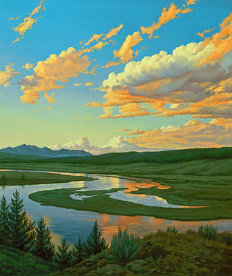 Yellowstone Painting - Hayden Valley Sunset by Paul Krapf