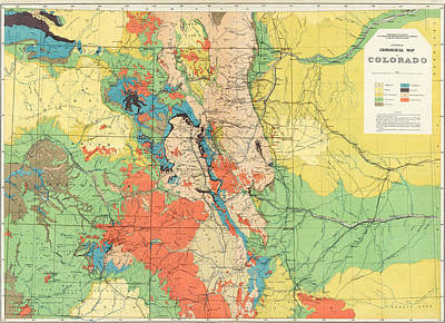 American West Drawing - Hayden's General Geological Map Of Colorado - 1881 by Eric Glaser
