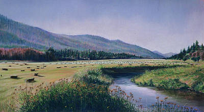Hayfield And River Art Print