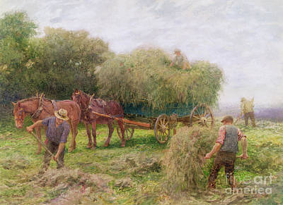 Shire Horse Painting - Haymaking by Arthur Hopkins