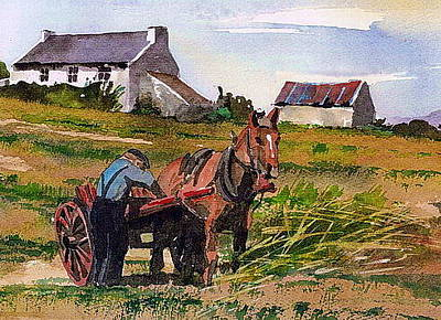 Painting - Haymaking Tousist  Kerry by Val Byrne
