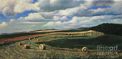 Hayrolls On Swirl Field In Latrobe By Christopher Shellhammer Art Print