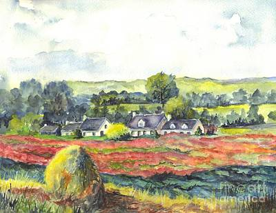 Poppies Field Drawing - Haystack And Poppies  by Carol Wisniewski