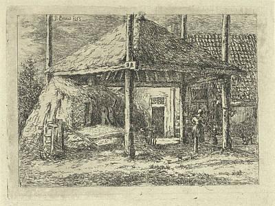 Farm Stand Drawing - Haystack, Gerardus Emaus De Micault by Gerardus Emaus De Micault