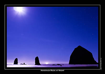 Photograph - Haystack Rock At Night by Joseph Bowman
