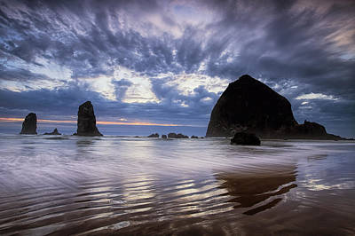 Haystack Rock At Sunset Print by Andrew Soundarajan