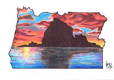 Oregon State Drawing - Haystack Rock by Benjamin Butcher