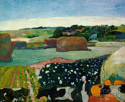 Spring Landscape Painting - Haystacks In Brittany by Paul Gaugin