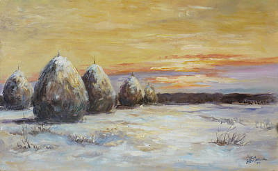 Sunset Painting - Haystacks In Winter by Irek Szelag