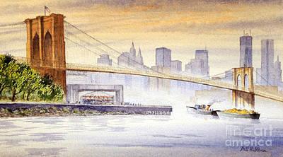 Moody Painting - Hazy Day At Brooklyn Bridge by Bill Holkham
