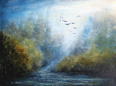 Autumn Painting - Hazy Morning by Ann Marie Bone