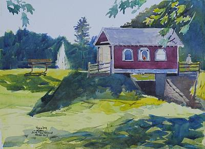 Covered Bridge Painting - Hazy Morning At Hope Bridge by Spencer Meagher