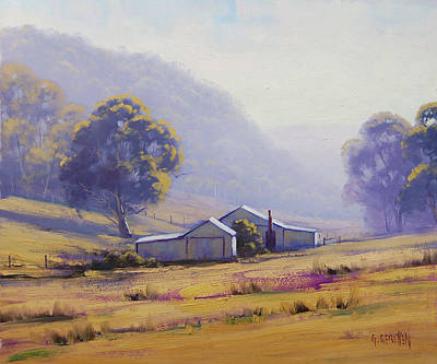 Sheep Grazing Painting - Hazy Morning by Graham Gercken