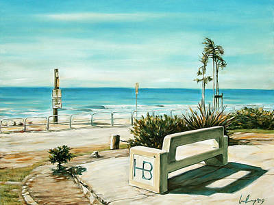 Huntington Beach Painting - Hb Bench by Ivailo Boliarov