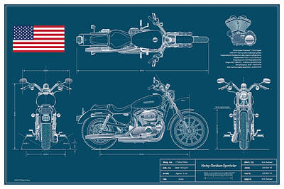 Harley Davidson Sportster Blueplanprint Art Print