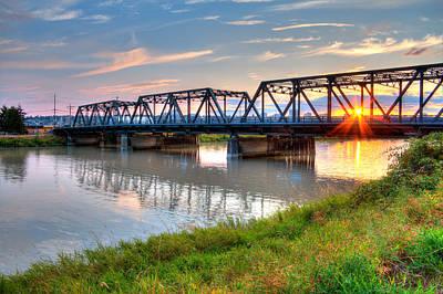 Hdr - Sunset On Lincoln Ave. Bridge  Art Print