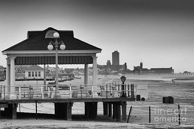 Hdr Beach Boardwalk Photos Pictures Art Sea Ocean Photograph Scenic Landscape Black White Print by Pictures HDR