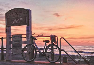 Hdr Beach Ocean Sunrise Boardwalk Bike Seaview Art Print Avon Nj  Art Print