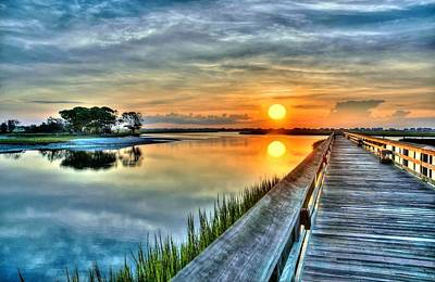 Hdr Boardwalk Sunrise Art Print