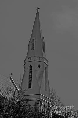 Photograph - Hdr Bw Montgomery Steeple At Sunset by Lesa Fine