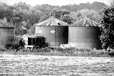 Photograph - Hdr Grain Bins Bw Photography by Lesa Fine