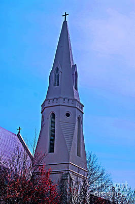 Photograph - Hdr Montgomery Church Steeple by Lesa Fine