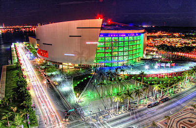 Hdr Of American Airlines Arena Art Print by Joe Myeress