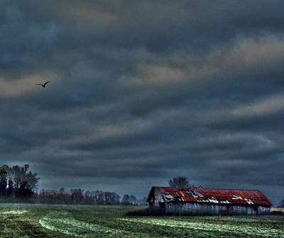 Photograph - Hdr Print Red Tattered Barn by Lesa Fine
