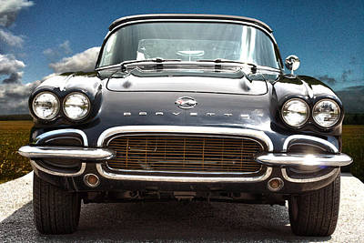 Vintage Chevrolet Photograph - Hdr Vintage Chevrolet Corvette Frontal by Lesa Fine
