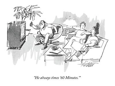 Tv Drawing - He Always Times '60 Minutes.' by Mischa Richter